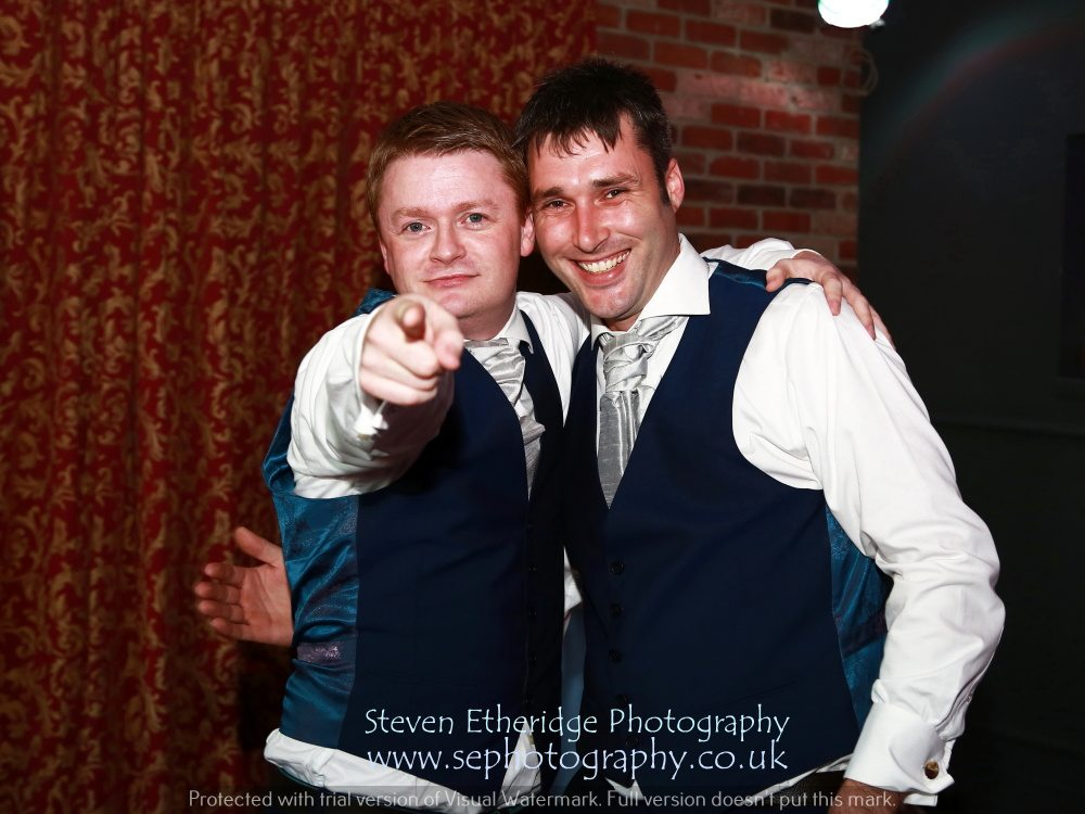 Hampshire Wedding Photography - lads posing on the dancefloor
