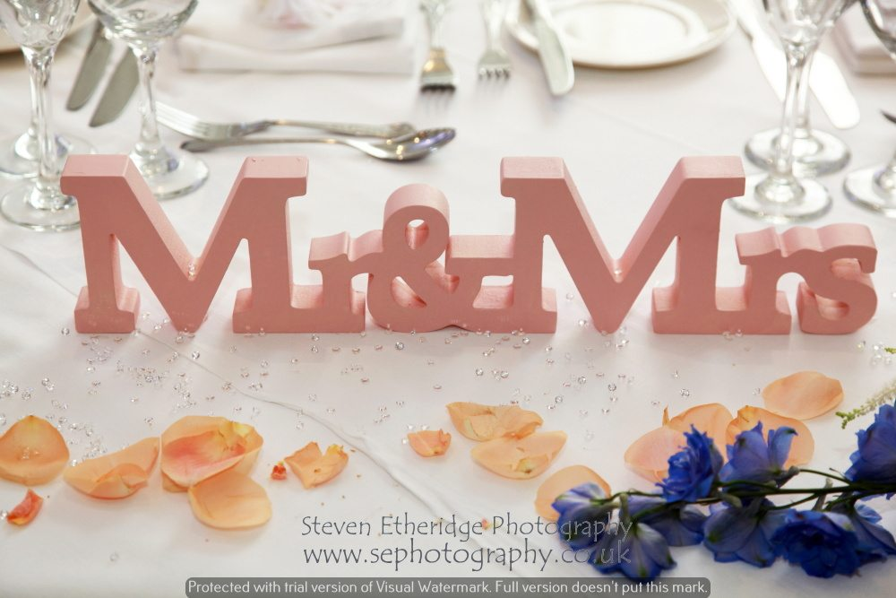 Surrey Wedding Photographer - Mr & Mrs table decorations