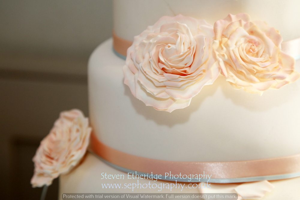 Surrey Wedding Photographer - wedding cake icing flowers