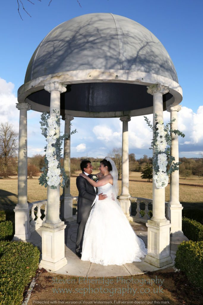 Hampshire Wedding Photographer - bride and groom in Froyle Park outdoor dome